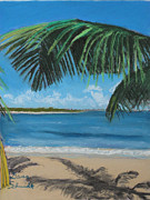 Rico Pastels - Bay Beach Across from San Juan Puerto Rico by Dana Schmidt