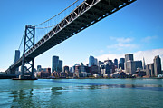 Bay Bridge Photo Metal Prints - Bay Bridge And Embarcadero Metal Print by Lily Chou