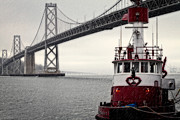 Fireboat Framed Prints - Bay Bridge and Fireboat in the Rain Framed Print by Jarrod Erbe