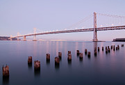 Illuminated Tapestries Textiles - Bay Bridge And Pilings by Photograph by Daniel Pivnick