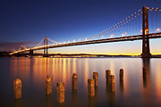 Built Structure Art - Bay Bridge At Dawn by Travel & Nature Photography