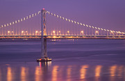 Illuminated Framed Prints - Bay Bridge At Dusk Framed Print by Sean Duan