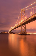 Bay Bridge Photo Metal Prints - Bay Bridge At Night, San Francisco Metal Print by Photograph by Daniel Pivnick