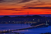 Alcatraz Art - Bay Bridge from the Oakland Hills by Laszlo Rekasi