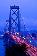 "Lights ""san Francisco"" Prints - Bay Bridge Night Print by Connie Cooper-Edwards"