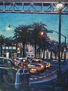 City Scape Paintings - Bay Bridge by Rick Nederlof