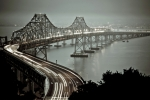 Headlight Photo Metal Prints - Bay Bridge Metal Print by Stefan Baeurle