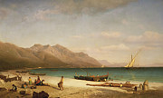 Fishing Painting Posters - Bay of Salerno Poster by Albert Bierstadt