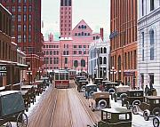 Old Cars Paintings - Bay Street Christmas Eve 1924 by Kenneth M  Kirsch