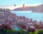 California Vineyard Paintings - Bay View From Tiburon Hills Two by Deborah Cushman