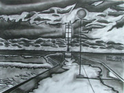 Pier Drawings - Bayfield Pier by Lee Davies