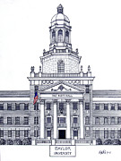 Pen And Ink Framed Prints Art - Baylor University by Frederic Kohli