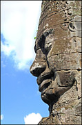 Ancient Ruins Prints - Bayon face Print by Marion Galt