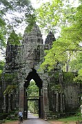Temples Photos - Bayon Gate by Marion Galt