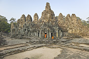 Religious Dress Framed Prints - Bayon Temple Framed Print by Martin Puddy