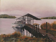 Docked Boat Painting Prints - Bayou  Print by Patty Weeks