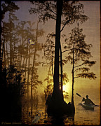 Fishing_boat Prints - Bayou Sunrise Print by Lianne Schneider