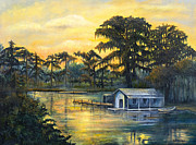 Cajun Paintings - Bayou Sunset by Elaine Hodges