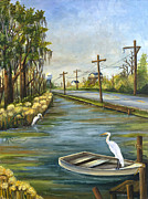 Egret Paintings - Bayou Terre aux Boeufs by Elaine Hodges
