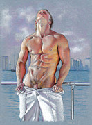 Male Nudes Drawings Prints - Bayside Print by Chance Manart