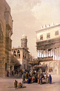 Roberts Drawings - Bazaar of the coppersmiths cairo by Munir Alawi
