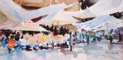 Mexico People Paintings - Bazaar Sabado by Joan  Jones