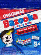 Red White And Blue Mixed Media Posters - Bazooka Joe Poster by Russell Pierce