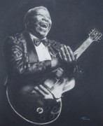 Angel Blues Drawings Prints - BB King Print by Cynthia Campbell