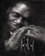 Famous People Drawings - B.B. King by Kathleen Kelly Thompson