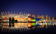 Night Time Lights Posters - BC Place Stadium Poster by Bea Carlson