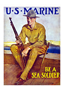 Ww1 Mixed Media Framed Prints - Be A Sea Soldier  Framed Print by War Is Hell Store