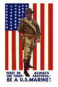 American Flag Mixed Media Prints - Be A US Marine Print by War Is Hell Store