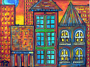 City Scape Paintings - Be Home Soon - Blue Moon by Susan Hendrich
