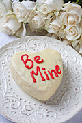 Plate Plates Prints - Be mine heart cake Print by Garry Gay