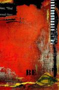 Abstract Art For The Home Mixed Media Posters - Be on Orange abstract Poster by Anahi DeCanio