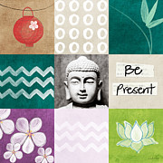 Teal Mixed Media Posters - Be Present Poster by Linda Woods