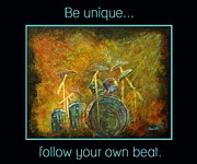 Drum Kit Prints - Be Unique...Follow Your Own Beat Print by The Art With A Heart By Charlotte Phillips