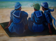 Slaves Painting Originals - Beach 1908 by Janie McGee