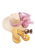Sun Hat Posters - Beach Accessories Poster by Atiketta Sangasaeng