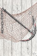 Net Drawings Prints - Beach Anchor and net. Print by Calvert Koerber