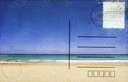 Torn Metal Prints - Beach And Blue Sky On Postcard  Metal Print by Setsiri Silapasuwanchai