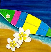 Hawai Painting Posters - Beach and Surf Poster by Astrid Rosemergy
