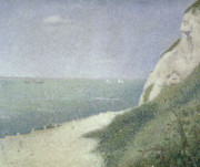 1859 Paintings - Beach at Bas Butin by Georges Pierre Seurat