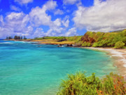 Haleiwa Paintings - Beach at Hana Maui by Dominic Piperata