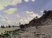 Boats On Water Prints - Beach at Honfleur Print by Claude Monet