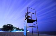 Beach At Night Print by Charline Xia