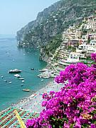 Positano Prints - Beach at Positano Print by Donna Corless
