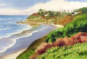 Surfing Paintings - Beach at Swamis Encinitas by Mary Helmreich
