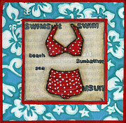 Debbie Brown Prints - Beach Attire Print by Debbie Brown