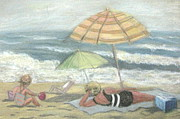 Umbrella Pastels Prints - Beach Babes Print by Gretchen Allen